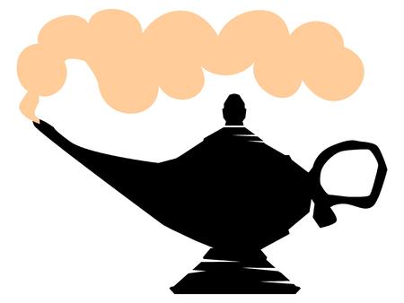 silhouette of lamp of Aladdin Illustration