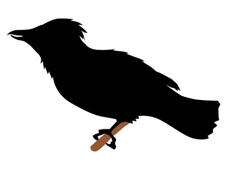 silhouette of waxwing Иллюстрация