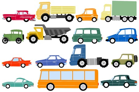 Set of vector illustrations of cars