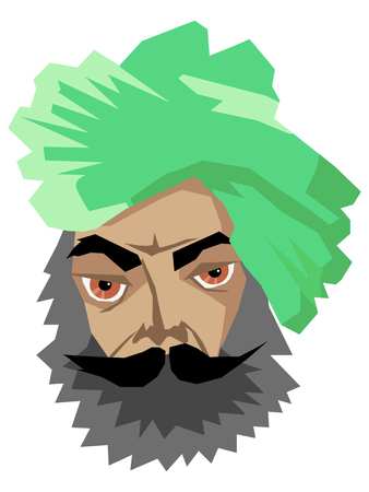 Vector illustration of indian man in turban.