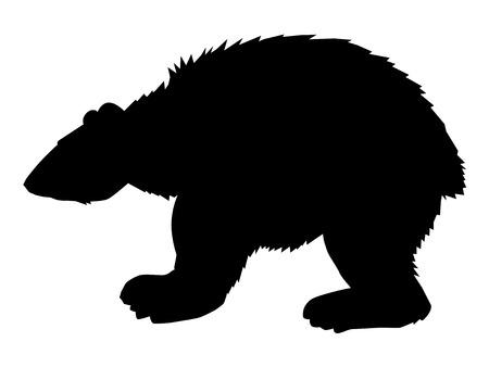 vector silhouette of polar bear, side view Иллюстрация