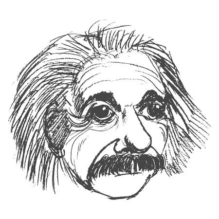 vector, schets, met de hand getekende illustratie van Albert Einstein