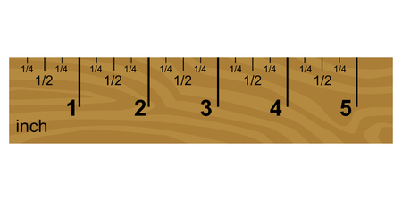 vector illustration of wooden inch ruler Çizim