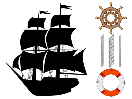 silhouette of classical ship with sea objects, travel motives Ilustracje wektorowe