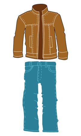 Lederjacke und Jeans, Herrenmode Motive