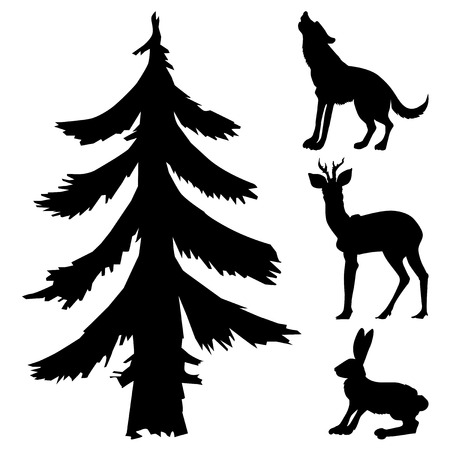 silhouettes of fir, hare, wolf and roe deer, forest motives Stock Illustratie