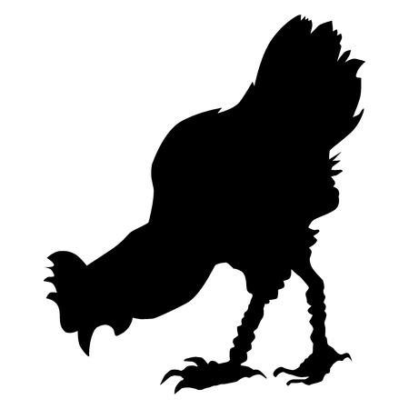 black silhouette of hen, side view