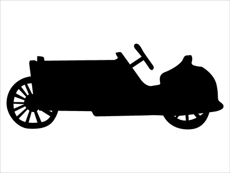 black silhouette of vintage car, side view