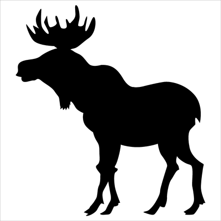 black silhouette of moose, side view
