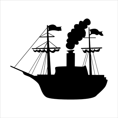 silhouette of sailing steam engine Vetores