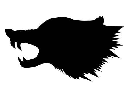 silueta de lobo atacante, motivo de vida silvestre
