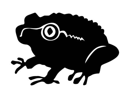 silhouette of toad, motive of wildlife