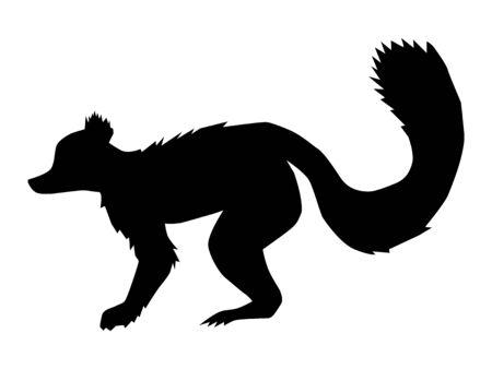 silhouette of lemur, motive of wildlife Ilustração Vetorial
