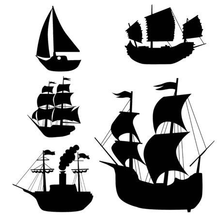 conjunto de siluetas de veleros clásicos, historia, viajes, descubrimiento, carabela, basura china, grandes descubrimientos geográficos, Colón, océano, navegación, navegación, comercio Ilustración de vector