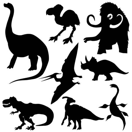 set of prehistoric animals, t-rex, dinosaur, mammoth, triceratops, pterodactyl, jurassic, glacial period, past, natural history, ice age Illustration