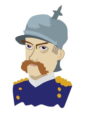 Otto von Bismarck, german statesman and founder of united German state. Historic person and politic 矢量图像