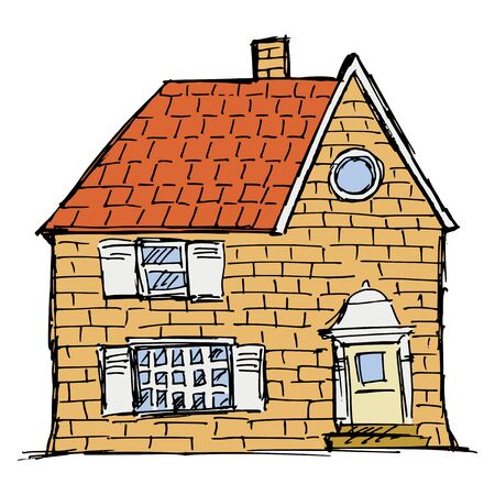 Hand drawn, vector, sketch illustration of individual cottage. Typical city home for one family. Classical style, made from different materials. Motive of everyday life