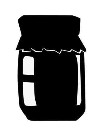 Silhouette of jar of jam. Motives of eating, dessert, sweet food 向量圖像