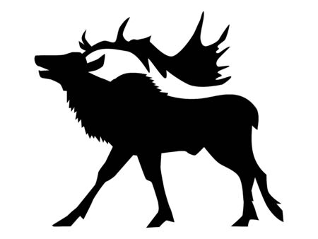 Vector silhouette of caribou or reindeer. Side view. Motives of season, Christmas, north pole, holidays, Santa Claus