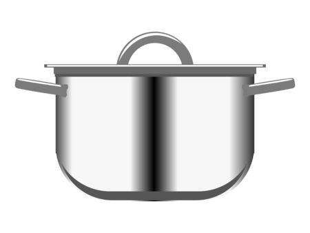 Vector illustration of metallic saucepan. Realistic image. Motive of trading, food and cooking