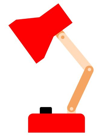 Vector illustration of table lamp for domestic and business usage. Image in flat style. Colorful and simple artwork. Side view. Motive of trading and interior Illustration