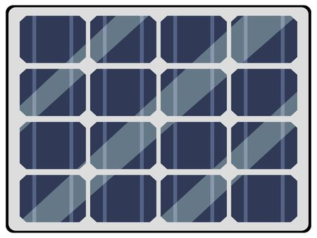 Vector, colorful illustration of panel of solar battery, top view. Motive of energy saving, ecological technology, saving resources, modern tech, electricity