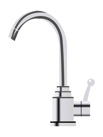 Vector, colored illustration of faucet. Device for provide water to home. Modern and new view. Hot and cold water. Washing and cleaning
