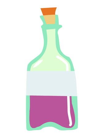 Vector, color illustration of glass bottle. Motive of food and drink, bar, drinking, juice, vine, cool drinks, vintage