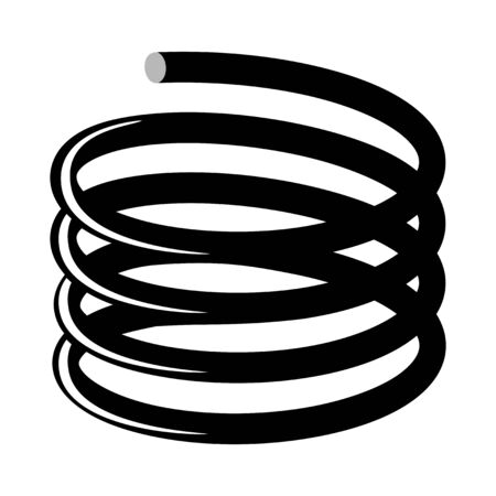Vector illustration of metallic spring. Motives of technology, industry, automobile