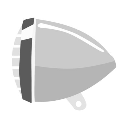 Vector, monochrome illustration of bicycle headlight. Motive of transportation, riding, technology, lighting, equipment