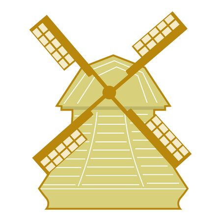 Vector, colored illustration of vintage windmill. Motives of energy, history, harvest, food, architecture Illustration