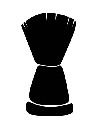 Vector silhouette of shaving brush. Motives of shaving, daily care