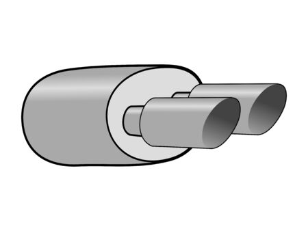 Vector illustration of exhaust pipe. Topics of automobile, technology, fixing, transportation