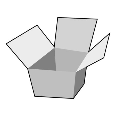 Vector illustration of paper box. Topics of packing, logistic, trading