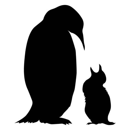 Vector silhouette of penguin with baby. Motives of wildlife, Antarctic, nature