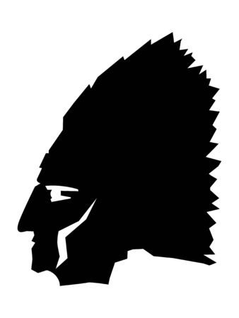 Vector silhouette of face of native american in profile. Motives of western, history, ethnics Vettoriali