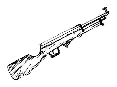 Vector sketch illustration of rifle. Motives of weapon, war, retro