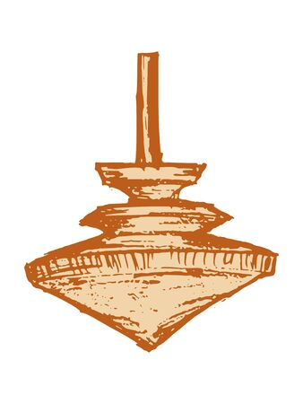 Vector, sketch illustration of wooden spintop. Motives of toys, retro, playing Çizim