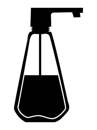 Vector silhouette of liquid soap. Motives of bathing, home object, hygiene, health, clearing