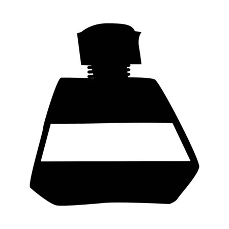 Vector silhouette of shampoo. Motives of bathing, home object, hygiene, health, clearing, hair care