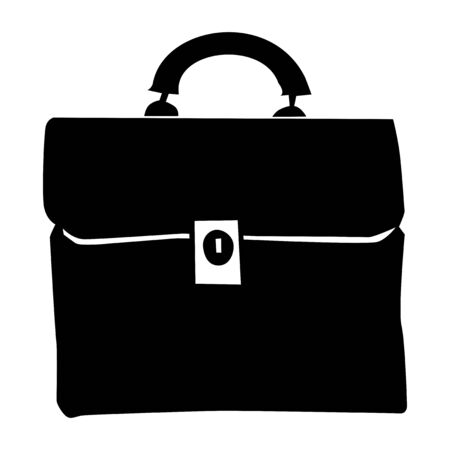 Vector silhouette of briefcase. Motives of office, objects, business, workplace, working, white collar Illustration