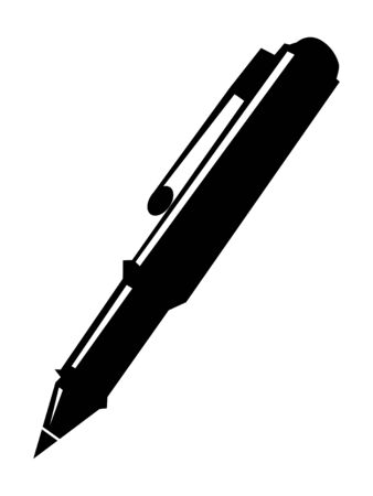 Vector silhouette of pen. Motives of office, objects, business, workplace, working, white collar Zdjęcie Seryjne - 132008517