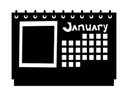 Vector silhouette of calendar. Motives of office, objects, business, workplace, working, white collar Illustration