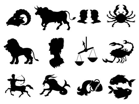 Vector black silhouettes of zodiac signs. All zodiac signs in: Aries, Taurus, Gemini, Cancer, Leo, Virgo, Libra, Scorpio, Sagittarius, Capricorn, Aquarius, Pisces