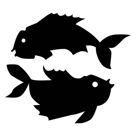 Vector silhouette of Pisces. Zodiac sign. Motives of astrology, astronomy, zodiac, symbols, destiny, mythology