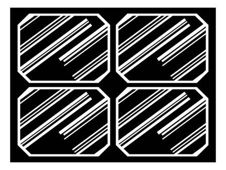 Symbolic vector illustration of panel of solar battery. Silhouette style. Motives of green energy, modern technology, hi tech