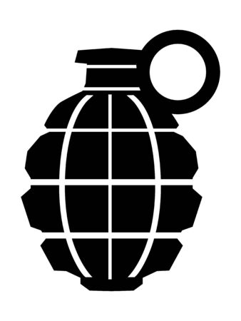 Vector silhouette of grenade. Motives of war, militarty, dangerous, weapon, army, bomb, combat 向量圖像