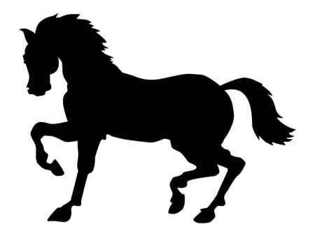 Vector silhouette of tittuping horse. Motives of speed, horse racing, beautiful of nature, sport, wildlife