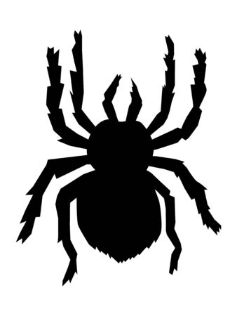 Vector silhouette of big scary spider. Motives of fauna, domestic pets, wildlife, danger in nature, arachnophobia, nature, horror Çizim