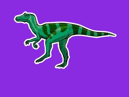 Dinosaur in zine style. Hand drawn, vector image, style print. Motives of funny, animal, Jurassic. Side view. Colored Illustration Ilustração